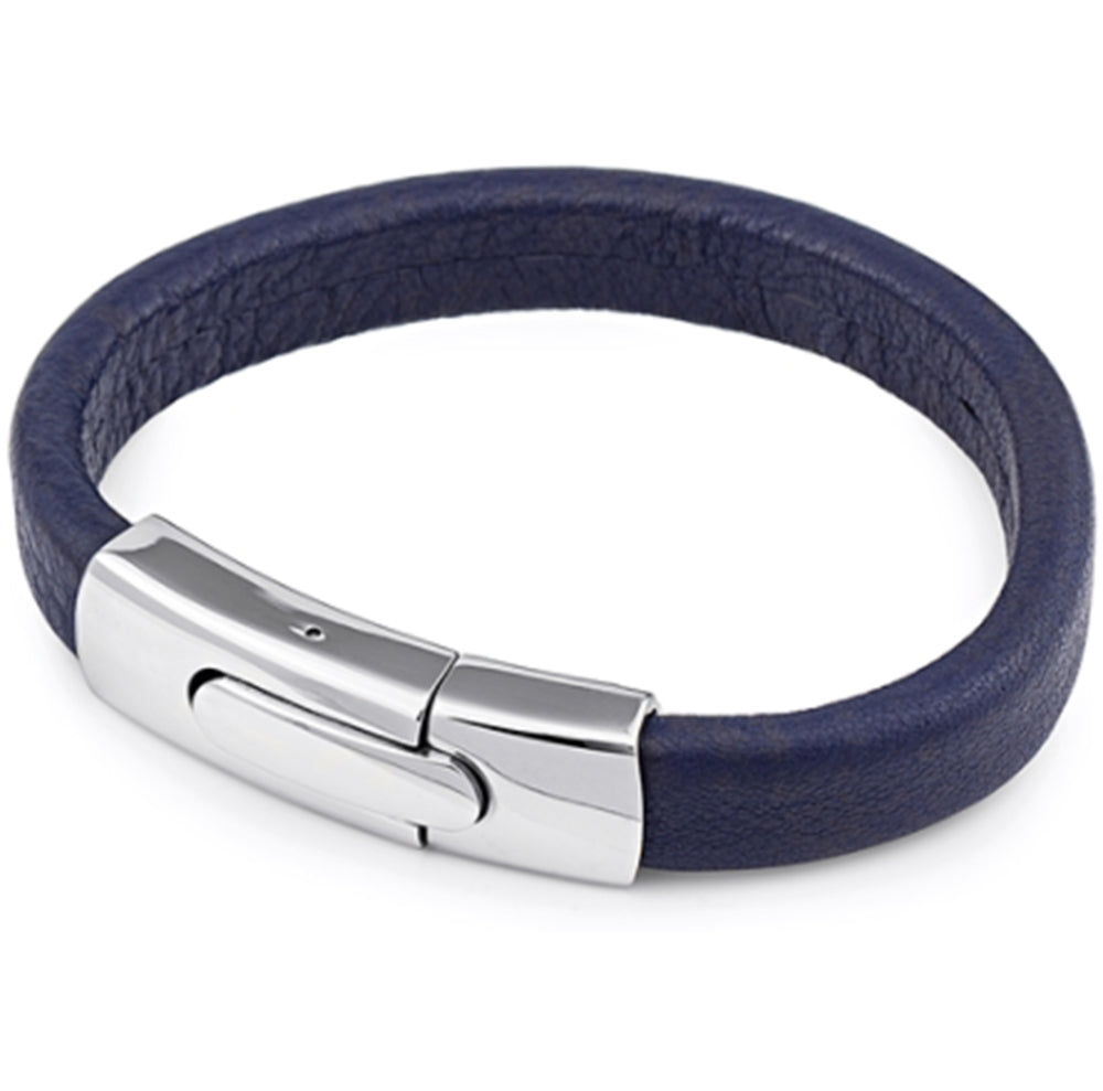 Men's Dark Blue Leather Bracelet, Gift Box Included