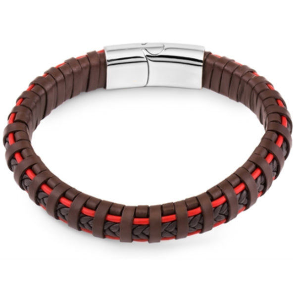 Men's Brown & Red Braided Leather Bracelet, Gift Box Included