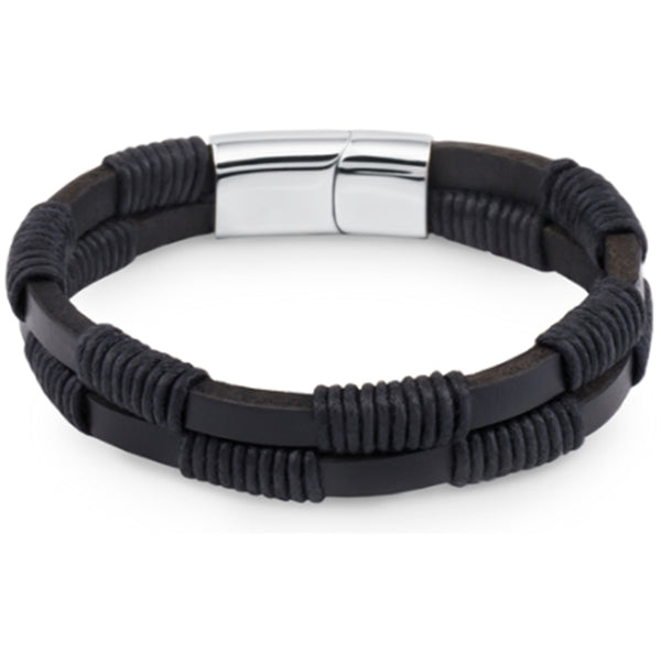 Men's Black Double Leather Bracelet High Quality, Gift Box Included