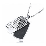 Stainless Steel Double Dog Tag Pendant With 24 Inches Necklace