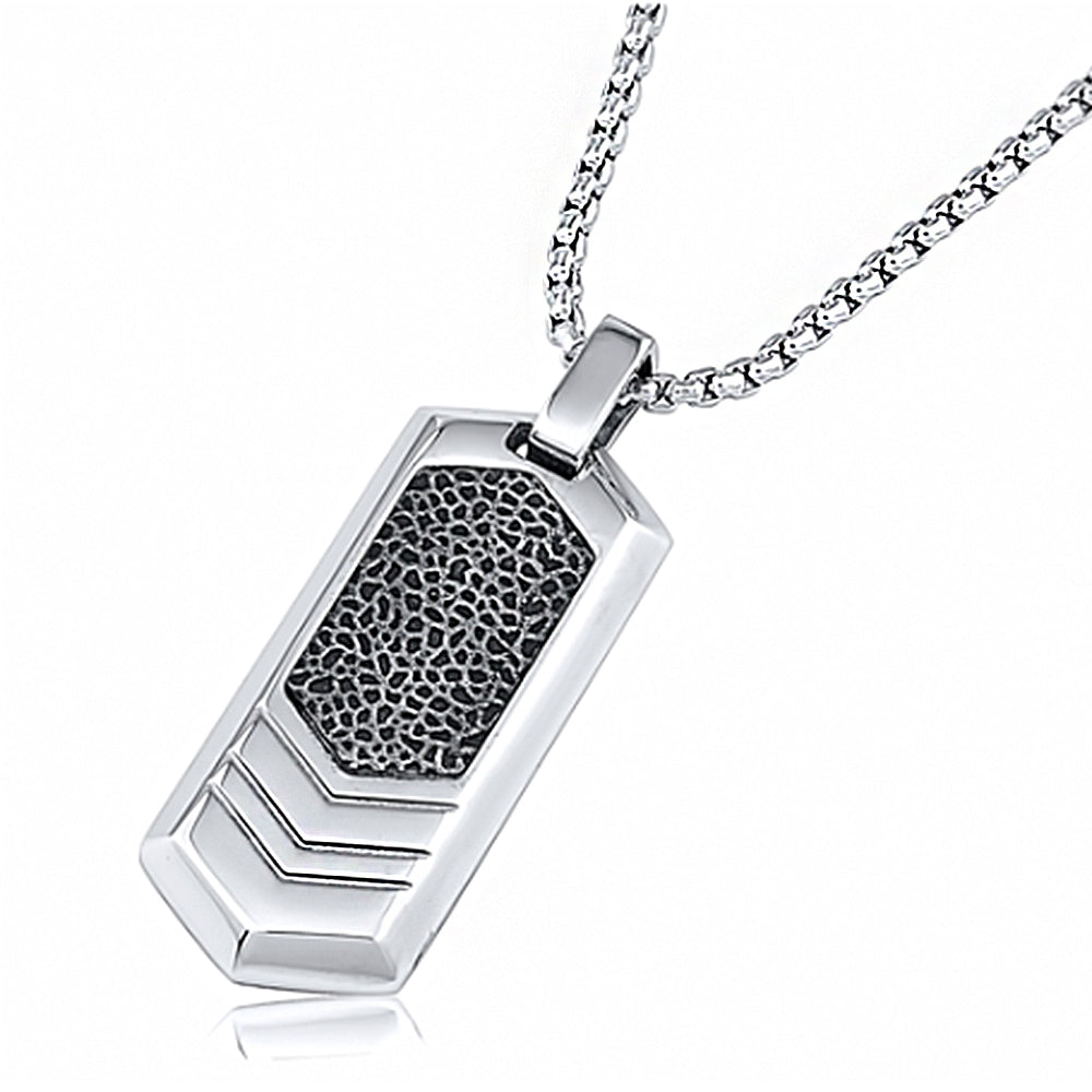 Stainless Steel Dog Tag Pendant With 24 Inches Rolo Chain