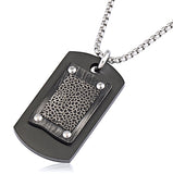 Stainless Steel Black Dog Tag Pendant With 24 Inches Rolo Chain