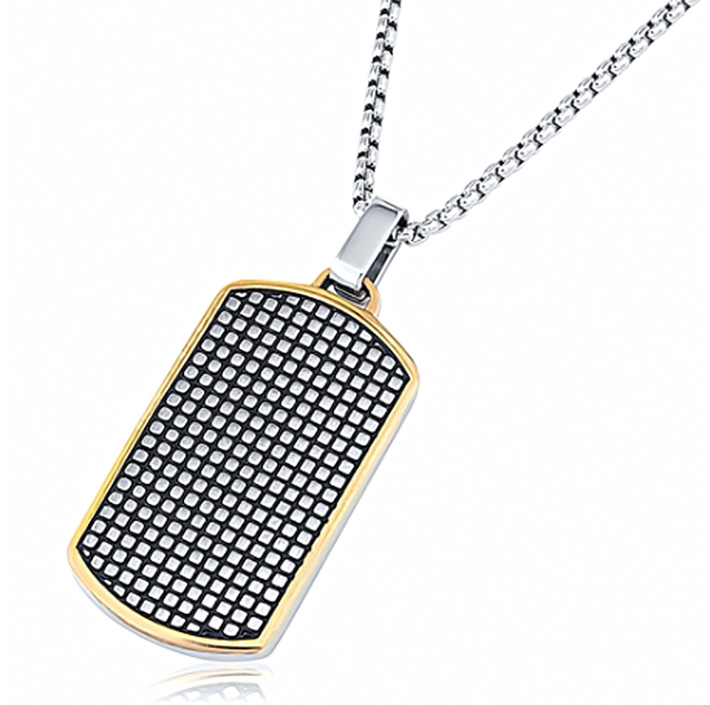 Stainless Steel Grid Design Dog Tag Pendant With 24 Inches Rolo Chain