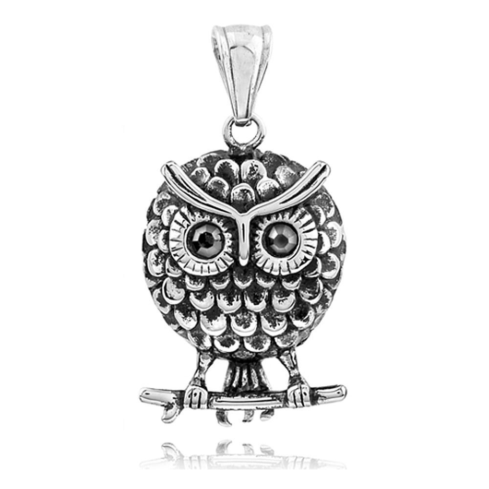 Stainless Steel Good Luck Owl Pendant With Black Onyx