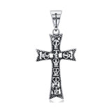 Stainless Steel Cross With Skulls Pendant Burlap Gift Box Included