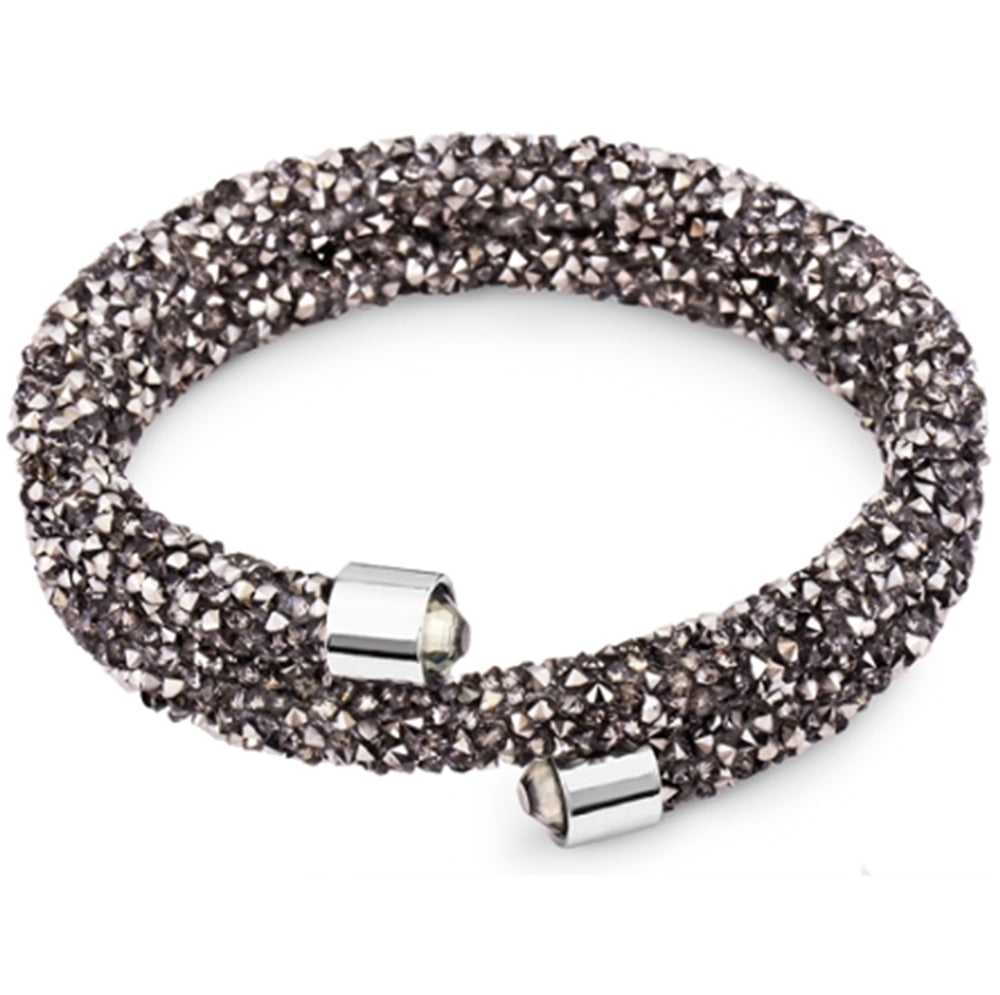 Silver and Post Hematite Bangle Wrap Bracelet Design with Crystals from Swarovsk® Burlap Gift Box Included