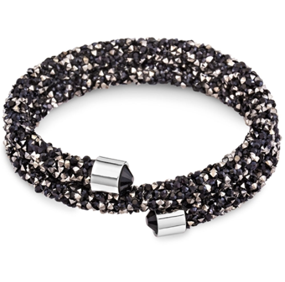 Black & Hematite Bangle Wrap Bracelet Design with Crystals from Swarovski® Burlap Gift Box Included