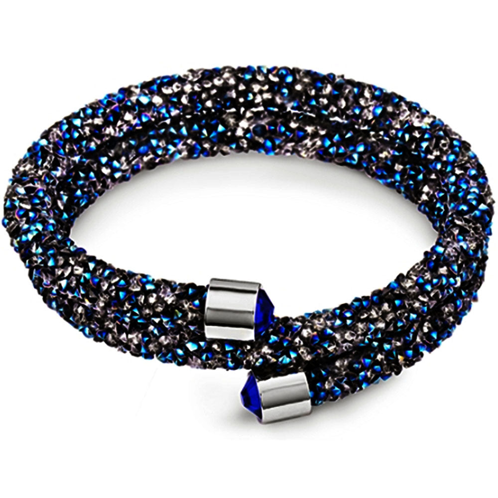 Silver and Post Blue Bangle Wrap Bracelet Design with Crystals from Swarovski® Burlap Gift Box Included