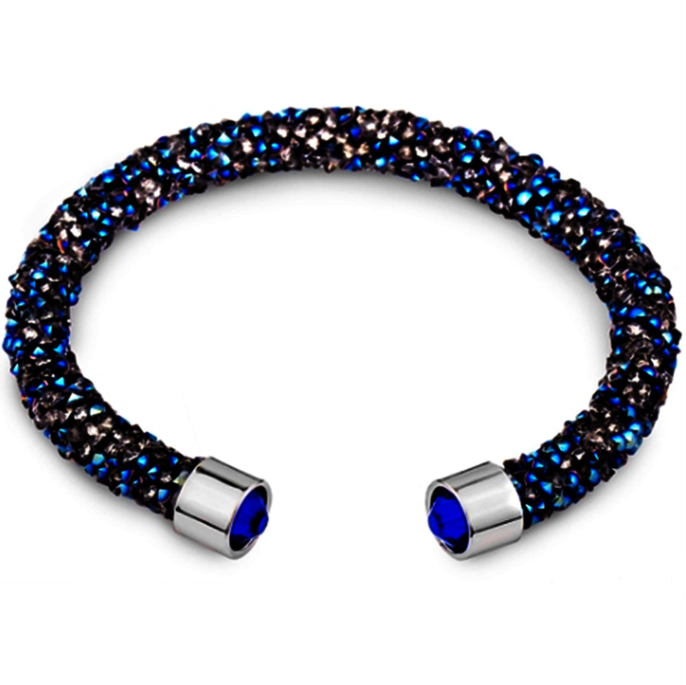 Blue Cuff Bracelet Design with Crystals from Swarovski® Bamboo Gift Box Included
