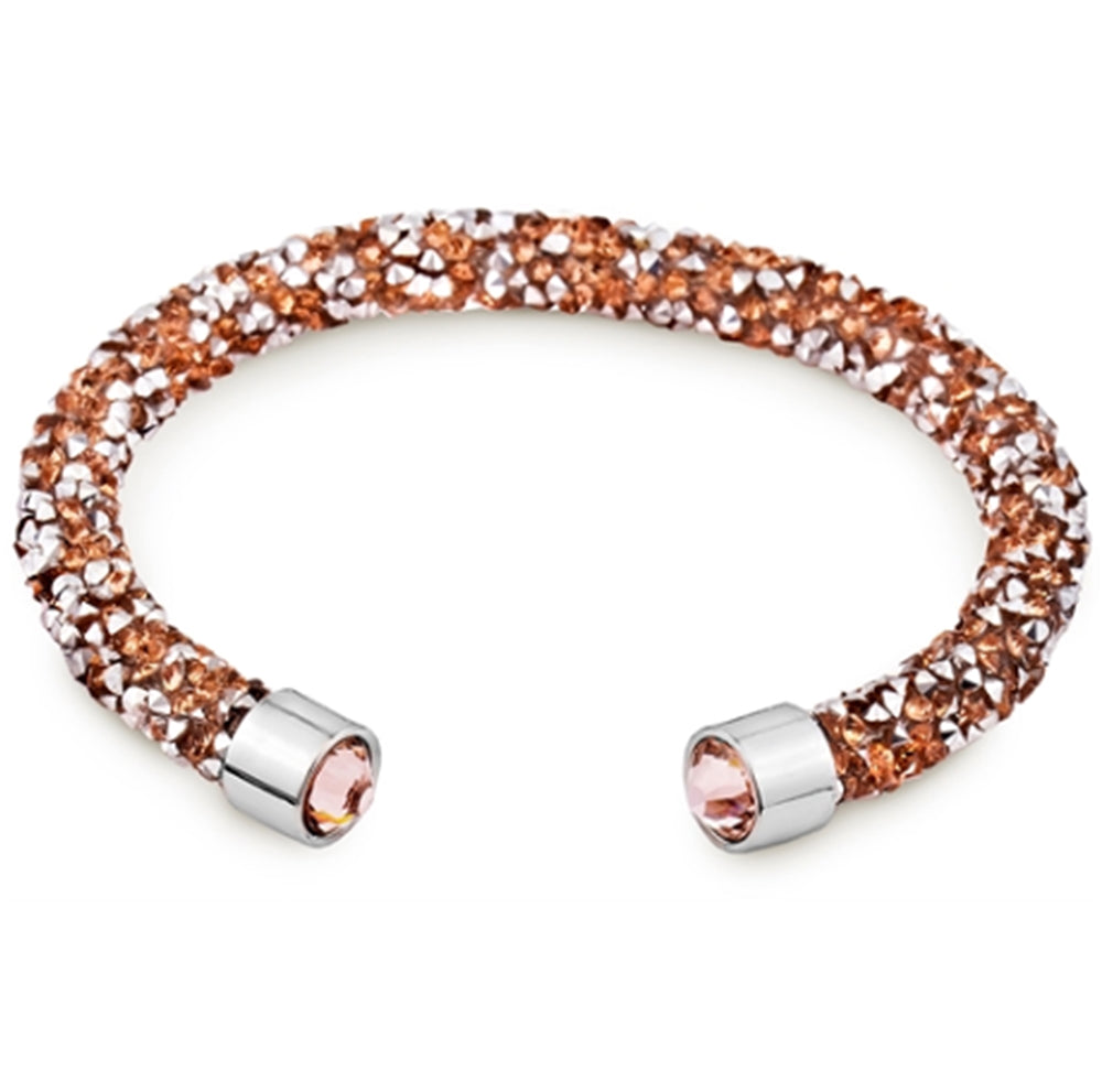 Rose Gold Cuff Bracelet Design with Crystals from Swarovski® Burlap Gift Box Included