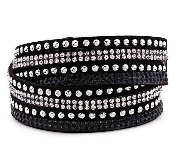 Black Genuine Leather Wrap Bracelet with Crystals from Swarovski® High Quality Design, Burlap Gift Box Included