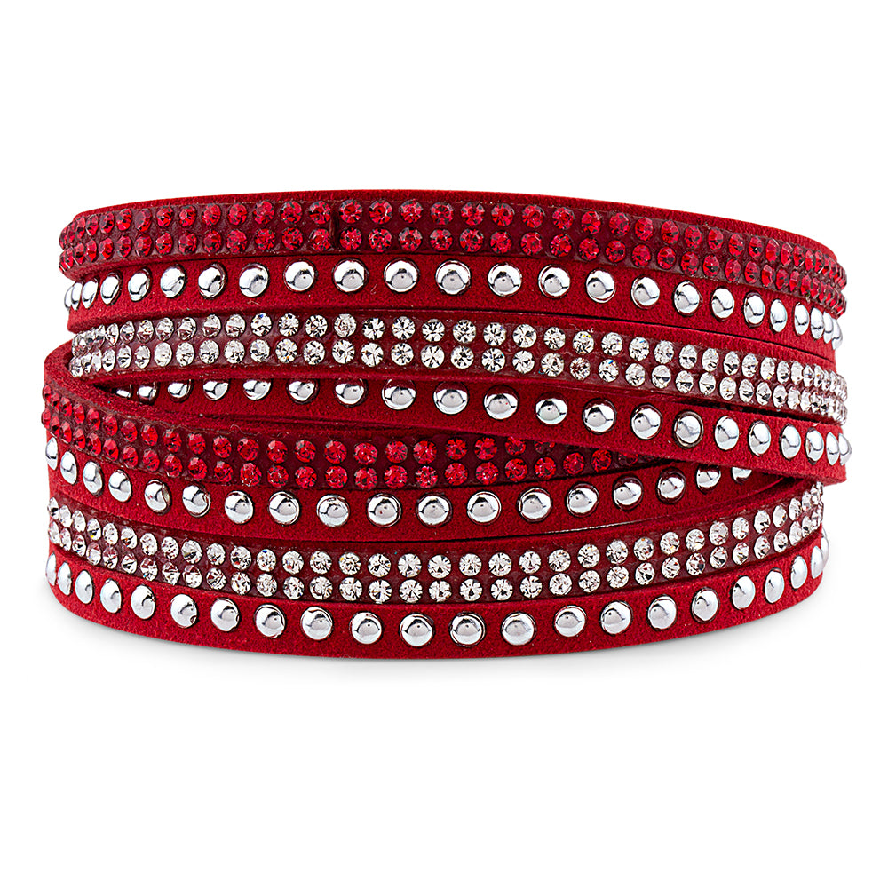 Red Genuine Leather Wrap Bracelet with Crystals from Swarovski® High Quality Design, Burlap Gift Box Included