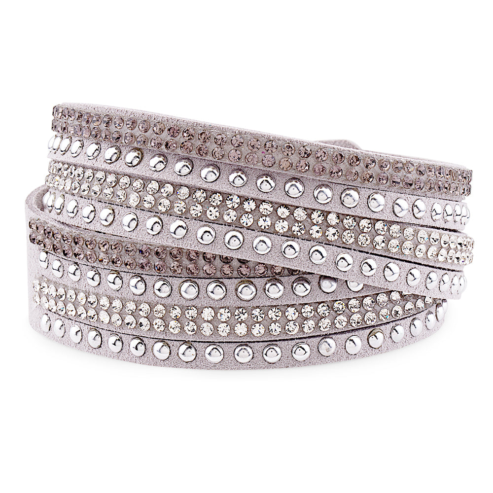 Gray Genuine Leather Wrap Bracelet with Crystals from Swarovski® High Quality Design, Burlap Gift Box Included