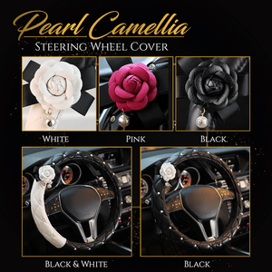 Pearl Camellia Steering Wheel Cover
