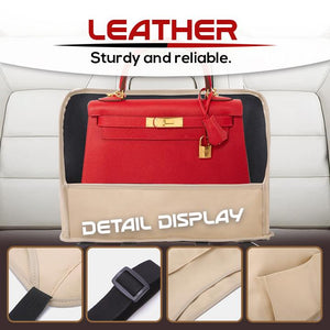 Upgraded Leather Car Net Pocket Handbag Holder
