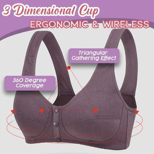 Front Button Wireless Gathering Bra