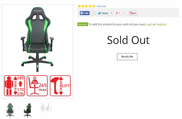 Notification out of stock dxracer