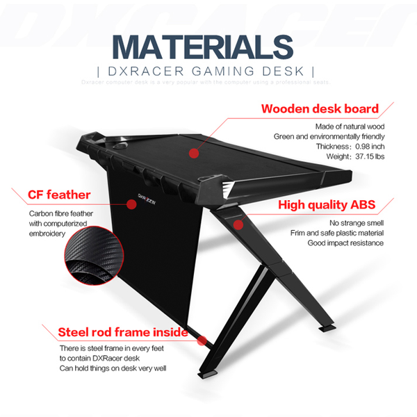 DXRacer Gaming Desk Black - Materials