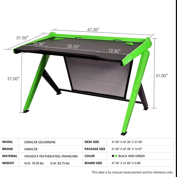 DXRacer Gaming Desk Green - Parameters