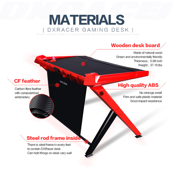 DXRacer Gaming Desk Red - Materials