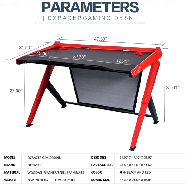 DXRacer Gaming Desk Red - Parameters
