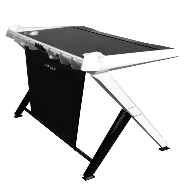 DXRacer Gaming Desk White - Side Angle