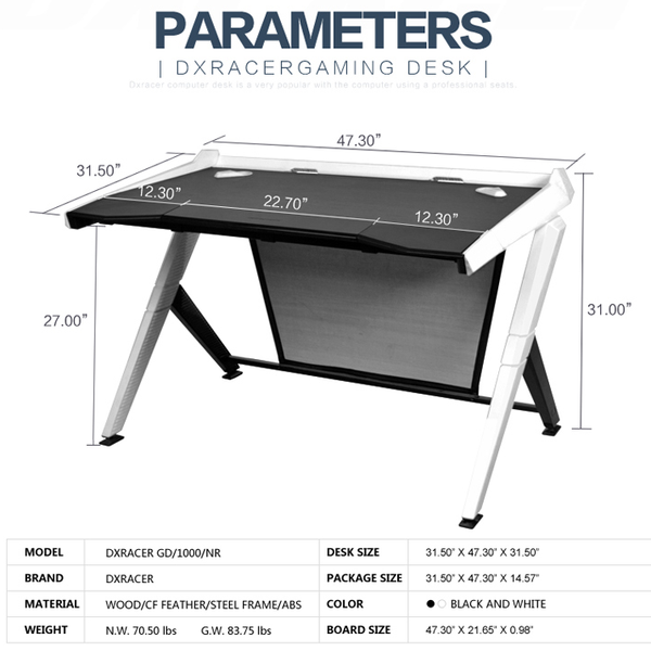 DXRacer Gaming Desk White - Parameters