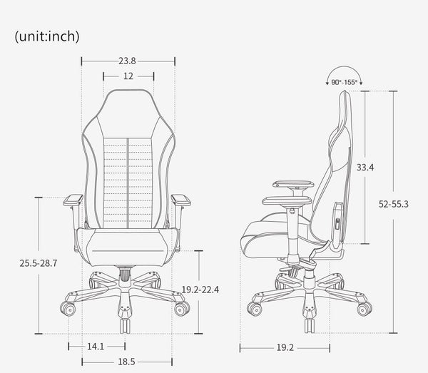 DXRacer OH/IS166 - Size