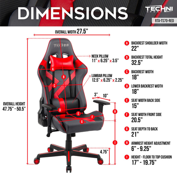 Techni Sport TS70 Red - Dimensions