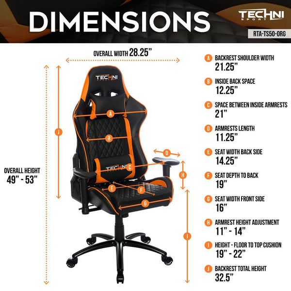 Techni Sport TS50 Orange - Dimensions