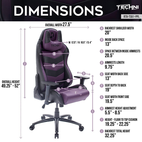 Techni Sport TS61 Purple - Dimensions