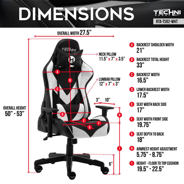 Techni Sport TS92 White - Dimensions