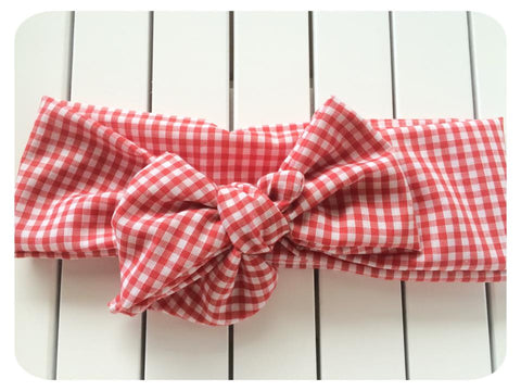 Big Bow Red Gingham Head Wrap