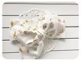 Big Bow Gold Doves Top Knot Head Wrap