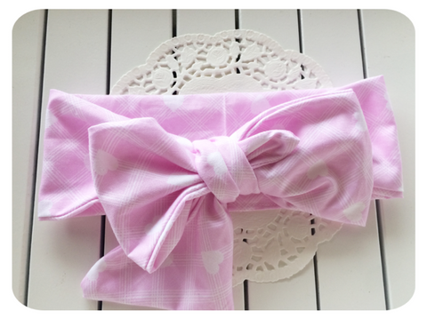Big Bow Pink Hearts Head Wrap