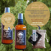 Twizzle Designs May Autumn Special - buy 2 x Linii Huon Pine award winning Spray Mist and get a free Linii 70g wardrobe sachet. Repels moths, silverfish, fleas and mites. A great natural pest repellent for the cooler months.