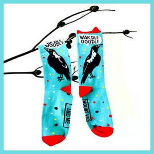 Australian designed and made cotton socks will give your day a lift. Aussie birds and iconic outback scenes decorate these iconic socks. Great eco friendly gifts for friends and family. Cockatoos, Blue Wrens, Magpies, true blue Aussie cattle dog.