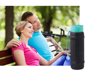 Black Rolla bottle with teal lid - great for outdoors