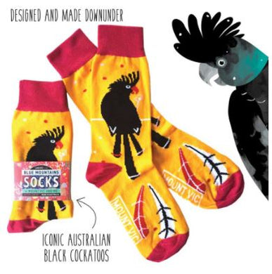 All Australian iconic Black Cockatoo socks - designed and made Downunder