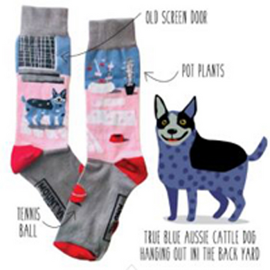 True Blue Aussie Cattle Dog socks - with tennis ball, water bowl and old screen door too.