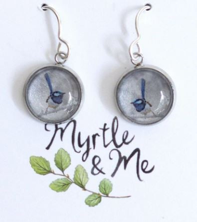 Beautiful hand crafted Blue Fairy Wren silver drop earrings