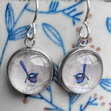 Load image into Gallery viewer, Blue Fairy Wren silver drop earrings - eco-friendly Tasmanian designed and made gift