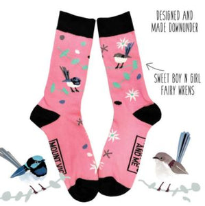 All Australian Fairy Wrens pink socks - designed and made in Australia