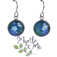 Load image into Gallery viewer, Blue Forget Me Not silver drop earrings - eco-friendly Tasmanian designed and made
