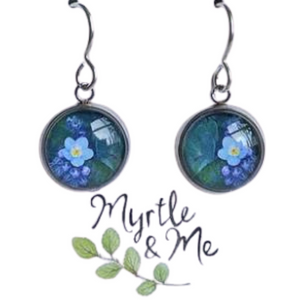 Blue Forget Me Not silver drop earrings - eco-friendly Tasmanian designed and made