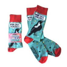 Load image into Gallery viewer, All Australian warbling Magpie song socks - designed and made in Australia