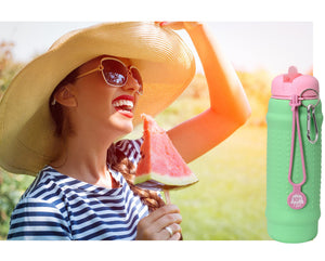 Mint Rolla bottle with pink lid - ideal when picnicing