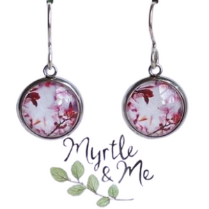 Eco-friendly gift - Pink  Blossom silver drop earrings - eco-friendly Tasmanian designed and made