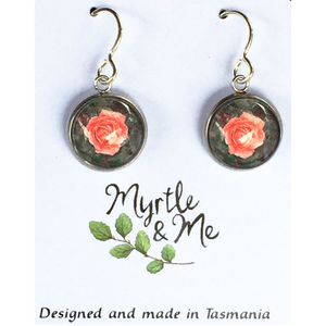 Beautiful rose design silver drop earrings hand made in Tasmania