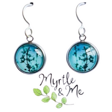 Load image into Gallery viewer, Eco-friendly Blue  Blossom silver drop earrings - Tasmanian designed and made gift